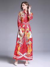 Fashion Turndown Collar Single-Breasted Print Maxi Dress