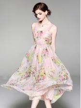 Sweet Print Big Swing Two Pieces Dress