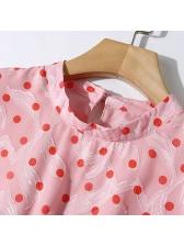 Vintage Polka Dots Asymmetrical Hem Short Sleeve Dress