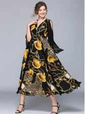 V Neck Cold Shoulder Print Maxi Dress