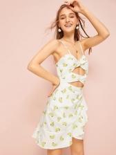 Sweet Banana Print Midriff-Baring Sleeveless Dress