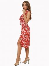 Vacation V Neck Backless Print Sleeveless Dress