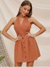 Sexy V Neck Backless Solid Color Halter Dress