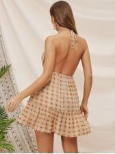 Sexy Backless Sunflower Print Halter Dress