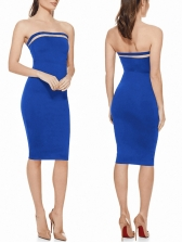 Hot Sale Solid Color Strapless Bodycon Dress