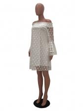 Stylish Polka Dots Boat Neck Off The Shoulder Dress