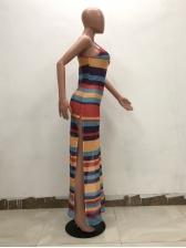 Casual Multicolored Striped Sleeveless Maxi Dress