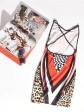 Sexy Backless Irregular Print Sleeveless Sheath Dress