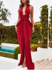 Sexy V Neck Solid Color Maxi Evening Dress