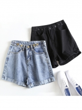 Vintage Style Solid Short Jeans For Women