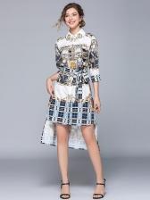 Turndown Collar Binding Bow Print Shirt Dress