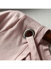 Cross Belt V Neck Solid Short Sleeve Tee