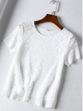 Summer Crew Neck Lace Panel T-Shirt For Women