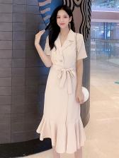 V Neck Solid Color Short Sleeve Ruffle Dress