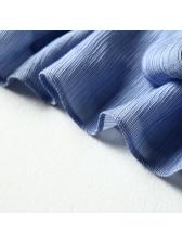 V Neck Ruffled Sleeve Tie-Wrap Draped T-Shirt