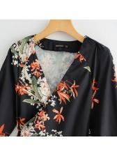 Euro V Neck Floral Tie-Wrap Black Blouse