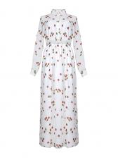 Boutique Print Big Swing Long Sleeve Maxi Dress