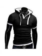 Short Sleeve Sport Hooded Shirt
