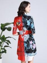 Boutique Turndown Collar Contrast Color Shirt Dress