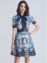 Boutique Elegant Tie-Wrap Print Short Sleeve Dress
