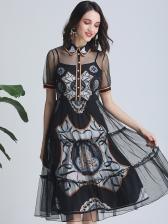 Boutique Vintage Gauze Patchwork Short Sleeve Print Dress