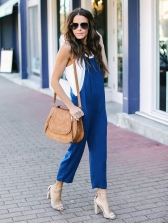 Square Neck Solid Wide Leg Overall For Women