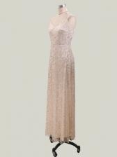 Sexy V Neck Foil Printing Maxi Evening Dress