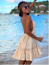 Sexy V Neck Backless Solid Color Sundress