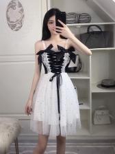 Binding Bow Lace Up Gauze Stitching Strap Dress