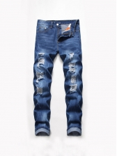Destroyed Straight Leg Casual Denim Jeans