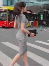 Minimalist V Neck Fitted Women Rib-Knit Dress