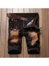Stylish Straight Leg Destroyed Denim Short Pants