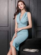 OL Style V Neck Blue Sexy Sleeveless Dress
