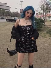 Chic Butterflies Velvet Strap Mini Dresses