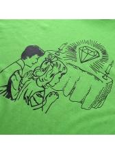 Casual Cartoon Printed Short Sleeve Green Tee