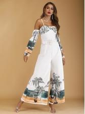 Cold Shoulder Printed Leg Wide Ladies Jumpsuit With Belt