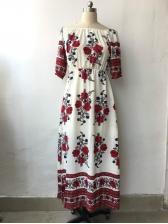 Euro Off Shoulder Flower High Split Maxi Dress