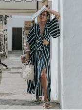 Sexy Lace Up Striped Wide Leg Women Trouser Suit
