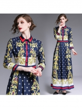 Fashionable Stars Print Button Up Fitted Maxi Dress