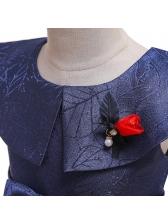 Butterflies Embroidery Bow Girls Doll Collar Dress