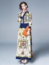 Vintage V Neck Big Swing Pint Maxi Dress
