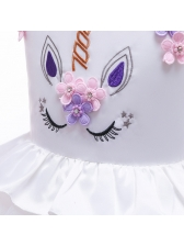 Cute Unicorn Design Girl Fluffy Gauze Dress