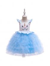 Applique Unicorn Large Hem Girls Gauze Dress