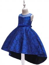 Sheer Stitching Binding Bow Girl High Low Dress