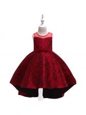 Stylish Bow Asymmetric Hem Girl Princess Dress