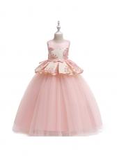 Sheer Flower Large Hem Girls Long Princess Dress