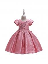 Studded Flower Printed Girl Large Hem Dress
