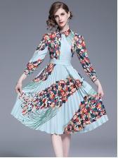 Casual Turndown Collar Print Pleated Dress