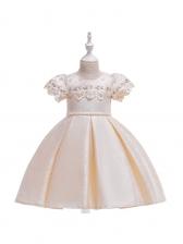 Embroidered Sheer Stitching Girls Big Swing Dress