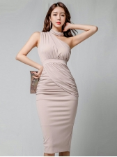 Simple Design One-Shoulder Pink Fitted Pencil Dress